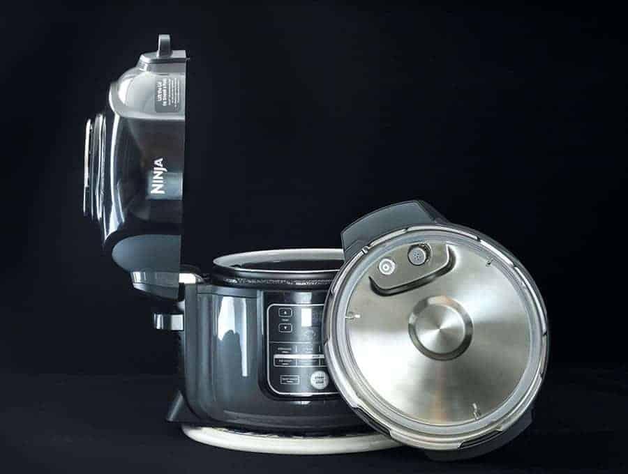 Ninja foodi review combination air fryer pressure cooker with both lids displayed