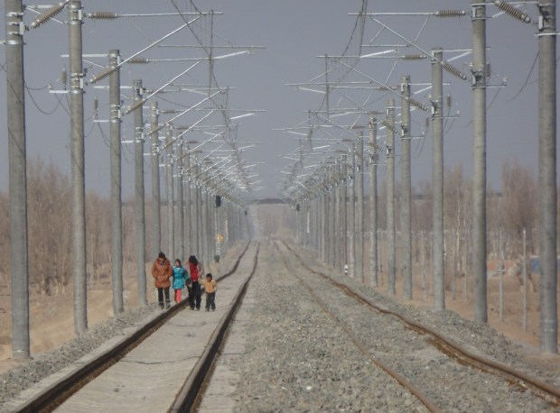 Walking on the tracks near Hami