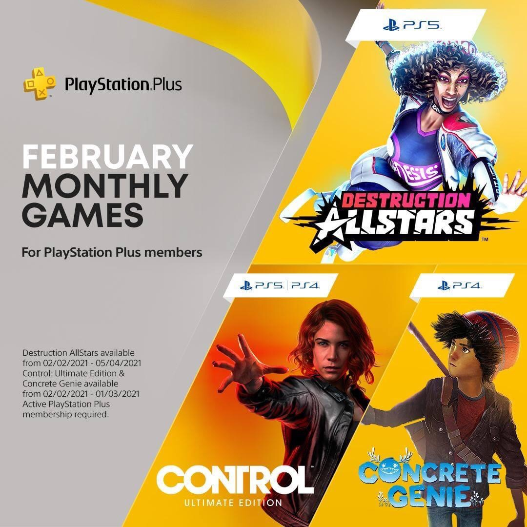 Cause some chaos in Destruction AllStars, visit The Oldest House in Control: Ultimate Edition and paint a town back to life in Concrete Genie, your PlayStation Plus games for February