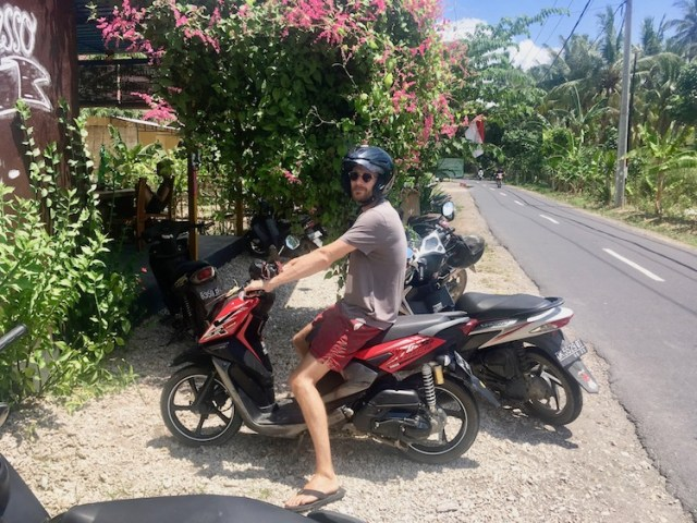 Scooters in Bali - Our first experience on two wheels, Matt on the bike, Two-Souls-One-Path