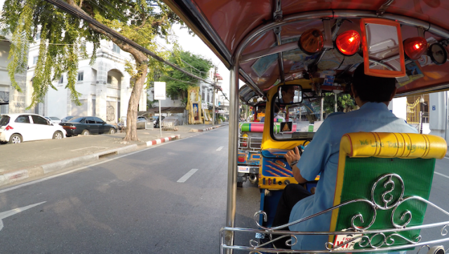 back of a tuk tuk 24 hours in Bangkok