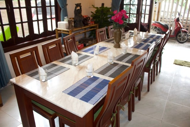 Vans dining table at Green Bamboo Cooking School