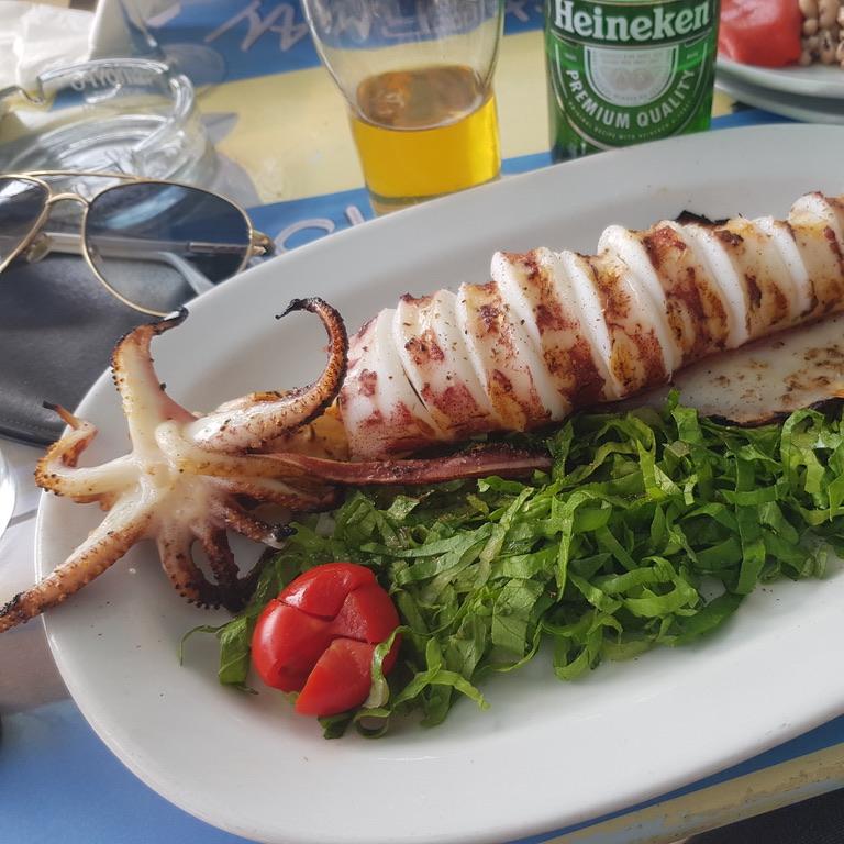 grilled squid, alfresco restaurant mykonos