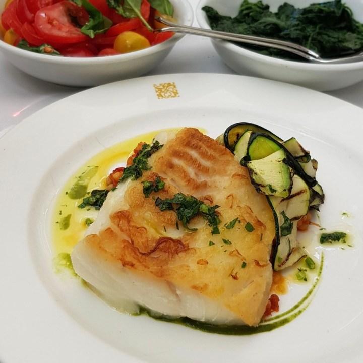 Daphne's Classic Italian Restaurant South Kensington Roast Cod Fregola Crab Zucchine