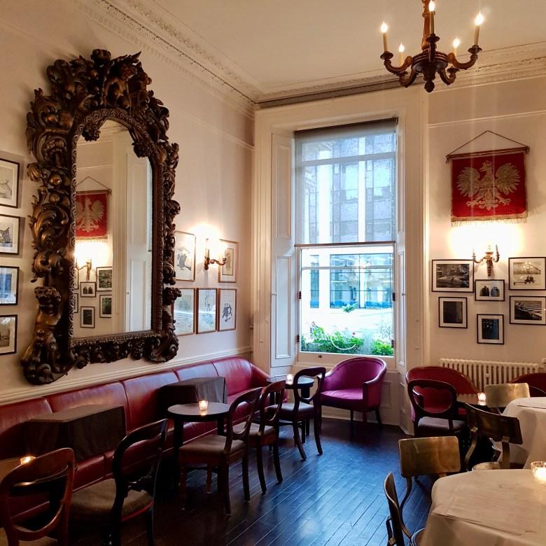 Ognisko Restaurant Classy Polish Dining South Kensington London Traditional Vodka Outdoor Alfresco Garden View Waiting Area