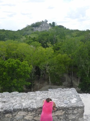 Feeling sick at Calakmul. Tom was so noce and took a photo of me