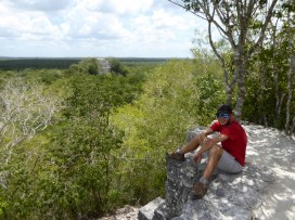 Up the second pyramid at Calakmul. Both of us getting a bit tired and sweaty by this point