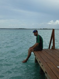 Tom dips his toes in Bacalar Lagoon