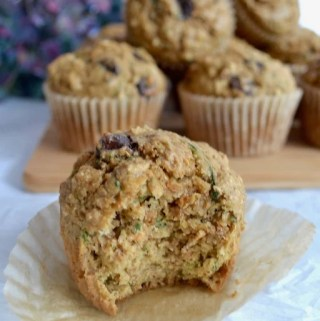 Zucchini oat bran chocolate chip muffins. Not overly sweet and packed with a hearty oat flavor. #twosugarbugs #zucchinimuffins #breakfastisserved #muffin
