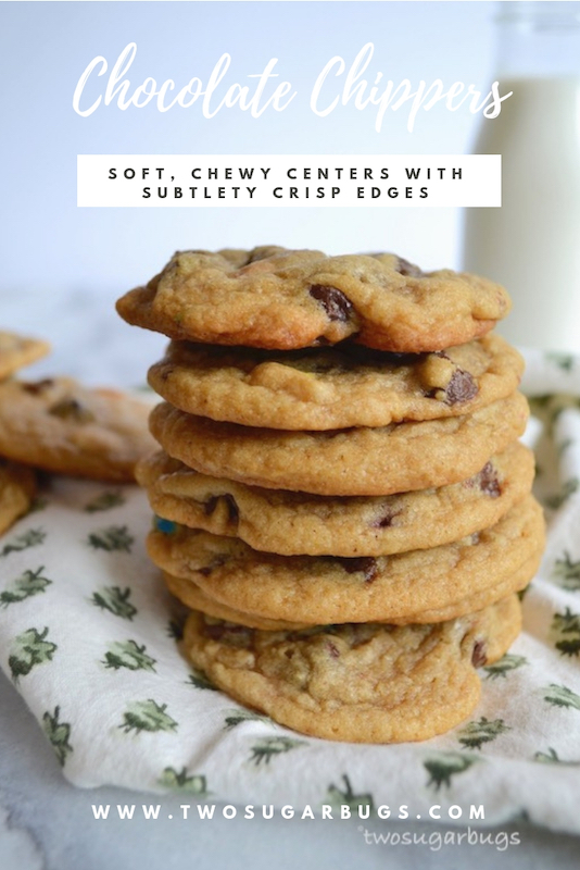 Chocolate chippers, slightly thick with a soft chewy center and barely crisp edges. Everyone is going to ask you for this recipe! #twosugarbugs #chocolatechipcookies #cookiesandmilk #familyrecipe