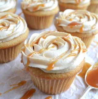 Browned butter cupcakes with salted caramel frosting. #twosugarbugs #brownedbutter #cupcakes #saltedcar