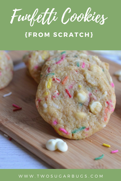 Funfetti cookies from scratch! An easy and cheerful cookie with the familiar cake batter flavor. #twosugarbugs #funfetti #cookielove #withsprinkles