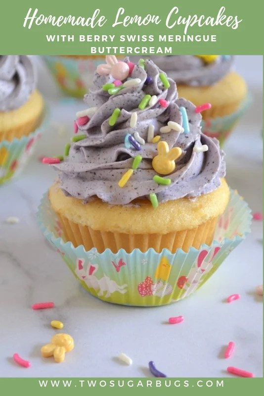 Light and fluffy homemade lemon cupcakes with berry Swiss meringue buttercream. Perfect for Easter, Mother's Day, baby showers or picnics, you'll love how easy and delicious these cupcakes are! #twosugarbugs #lemoncupcakes #lemon #cupcakes
