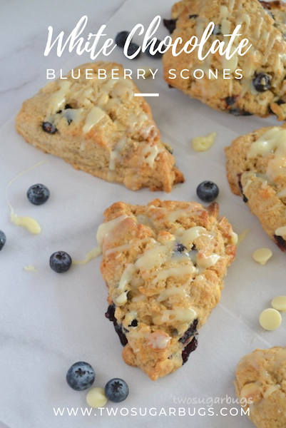 Pinterest graphic for white chocolate blueberry scone recipe.