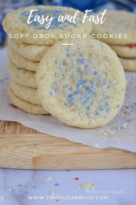 Easy and Fast SOFT Drop Sugar Cookies ~ This easy and fast soft drop sugar cookie recipe is so quick and delicious; no need to warm up your ingredients and no rolling pin or cookie cutters required! ~ #twosugarbugs #easycookies #sugarcookies #fastcookies