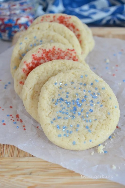 Red, white and blue decorated easy drop sugar cookies