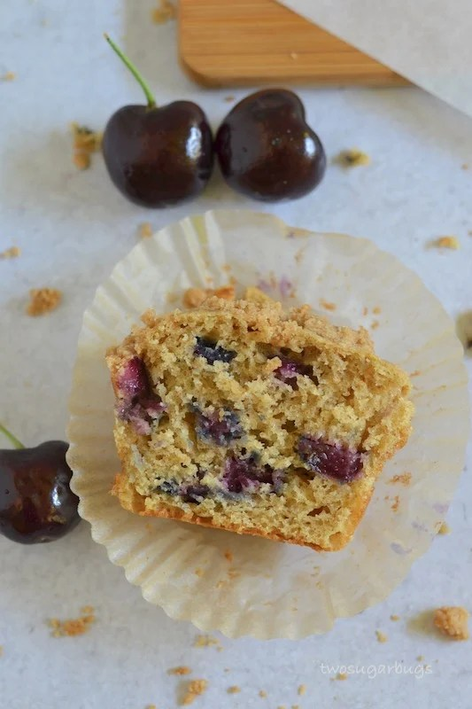 Cross section of a cherry crumble muffin