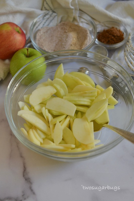 sliced apples in a bowl