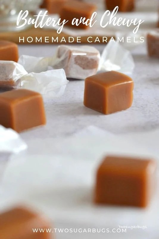 Homemade Caramels ~ An easy and favorite old-fashioned holiday candy!  This simple homemade caramels recipe uses only 5 ingredients and creates chewy, buttery, melt-in-your-mouth caramels! ~ #caramels #candy #holidayfavorites #christmascandy #twosugarbugs