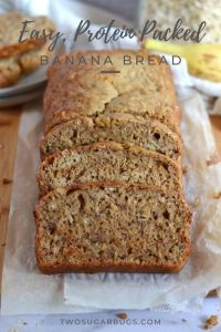 Pinterest image for peanut butter oat banana bread
