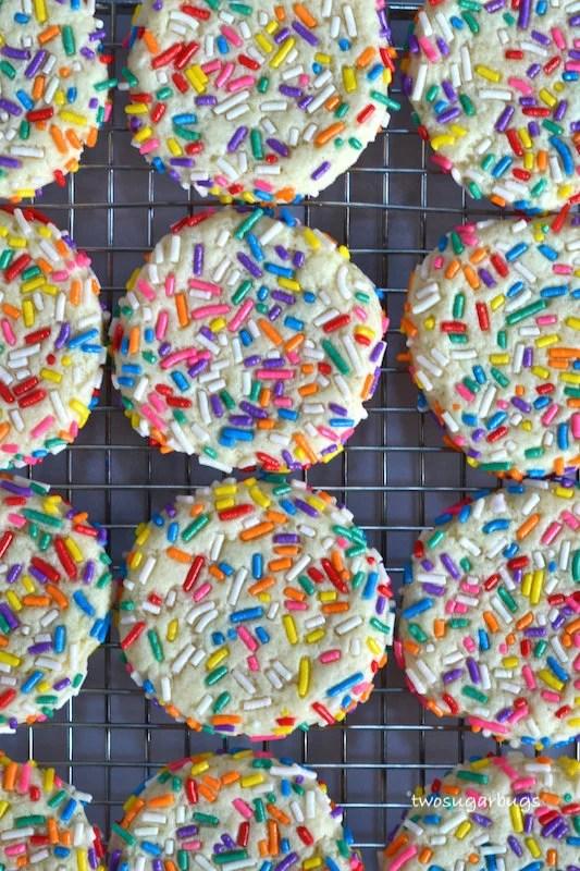 sprinkle cookies on a cooling rack