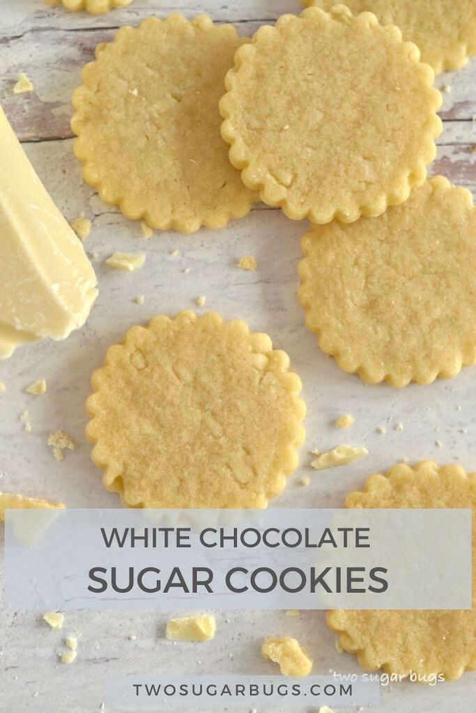 Soft and chewy white chocolate sugar cookies!  This easy recipe makes a perfectly sweet cookie that holds it's shape and tastes so amazing that it needs no frosting.  Perfect for Easter, Mother's Day, Christmas or just because! ~ #sugarcookies #sugarcookierecipe #whitechocolate #whitechocolatecookies