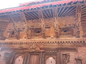 Wood carvings on a temple in Durbar Square in Kathmandu