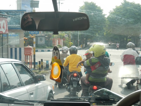 Typical traffic, it's not rare to see a family of 5 on one scooter
