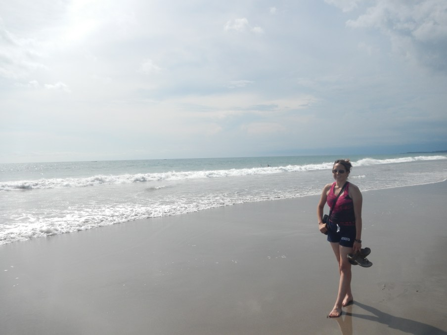 First time on the beach walking back from Seminyak