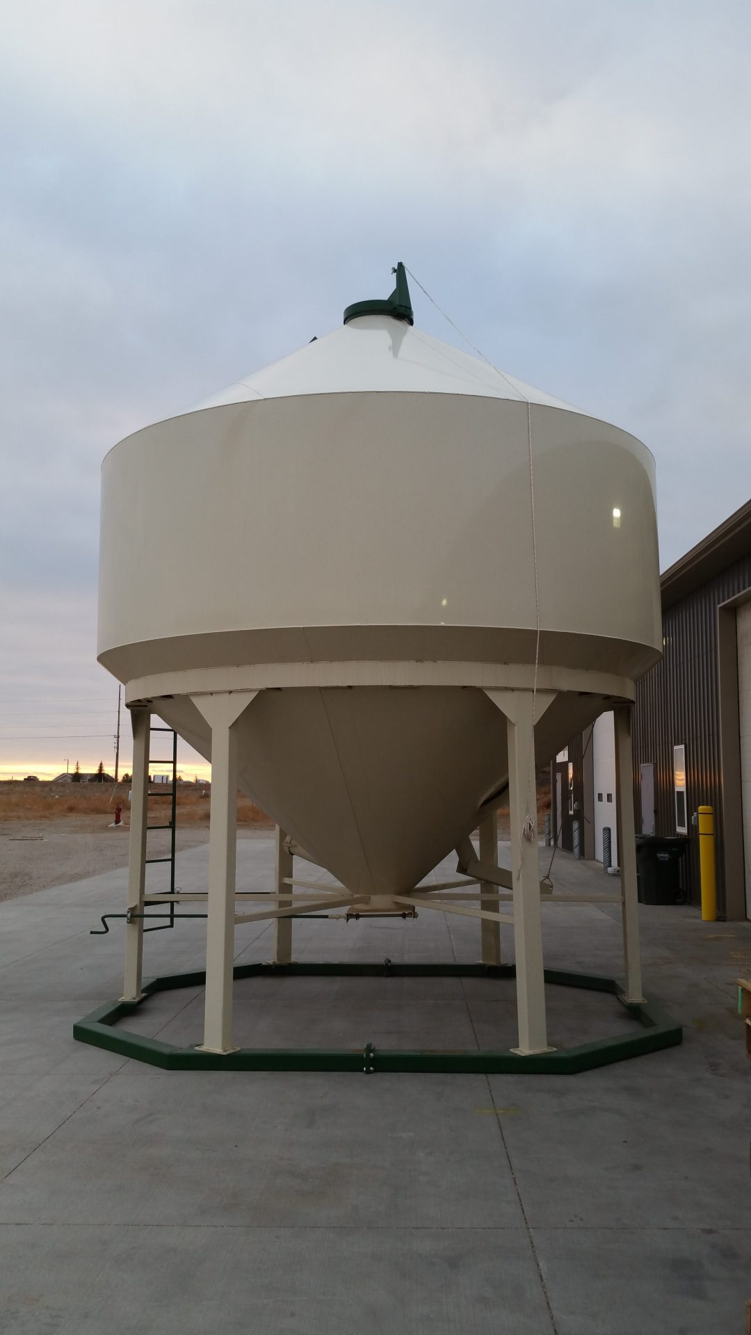 New grain bin for raw grain storage.