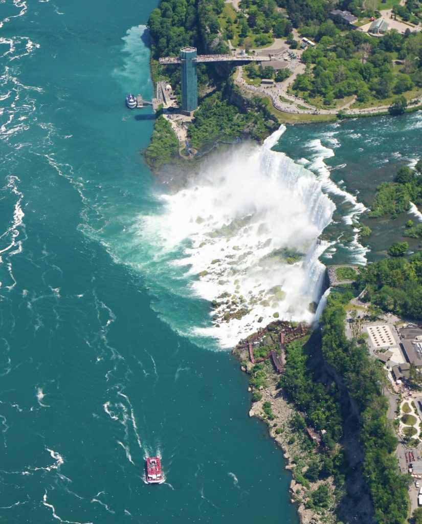 "Here you can see the American Falls and the Bridal Falls plus the Hornblower Boat. - ""Niagara Falls Helicopter Ride to Remember"" - Two Traveling Texans"