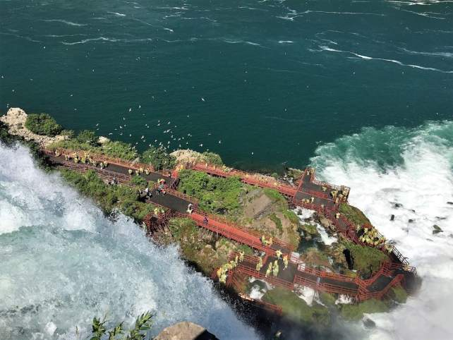 """View of the Cave of the Winds from above. - """"Cave of the Winds: Niagara Falls Closeup"""" - Two Traveling Texans"""