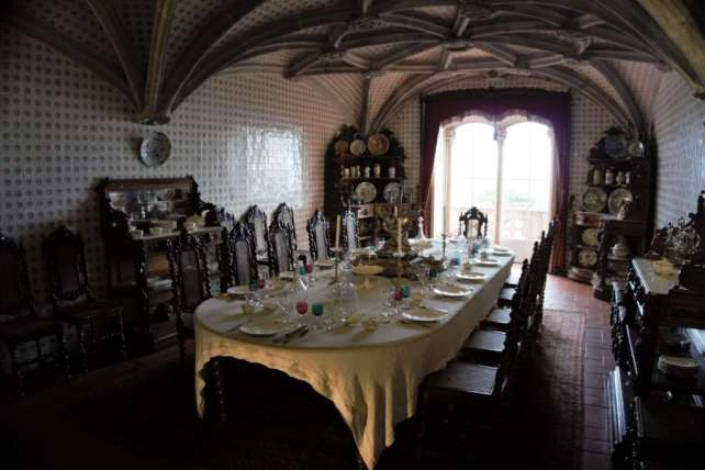 """A glimpse inside one of the rooms of the Pena Palace. - """"Pena Palace: Sintra's Fairytale Castle"""" - Two Traveling Texans"""