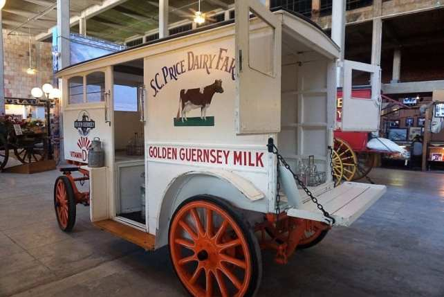"""One of the milk delivery wagons on display inside the Texas Cowboys Hall of Fame. - """"Fort Worth Stockyards: Learn About the Old West"""" - Two Traveling Texans"""