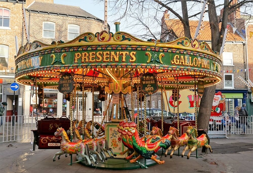 "St. Nicholas Fair has rides that younger kids would enjoy. - ""St. Nicholas Fair York Christmas Market Guide"" - Two Traveling Texans"