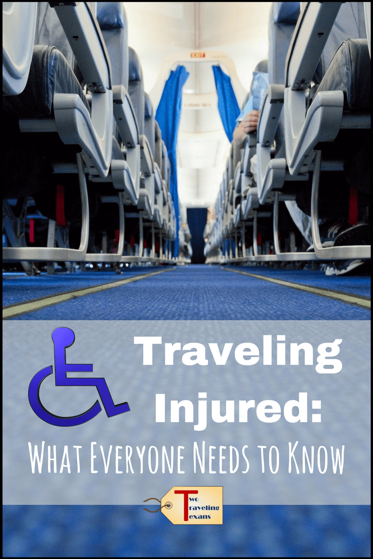 Thinking about traveling with an injury? Read about my experience flying with a knee injury, learn about the reality of accessible travel, and get tips if you plan to travel injured.  | Travel accessible | #traveltips #kneeinjury #accessiblity #airtraveltips #handicaptravel