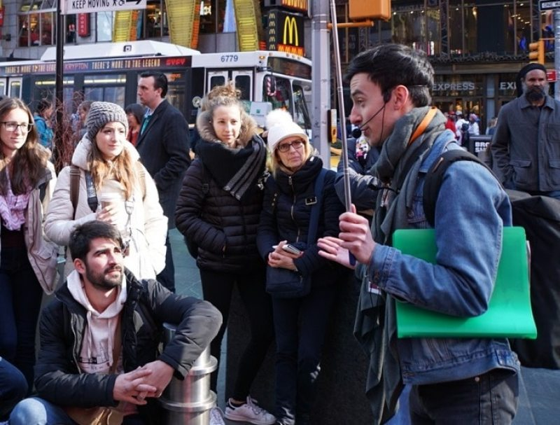 "Filip shares some interesting stories about Times Square. ""Inside Broadway Tour: Discover NYC's Theater District"" - Two Traveling Texans"
