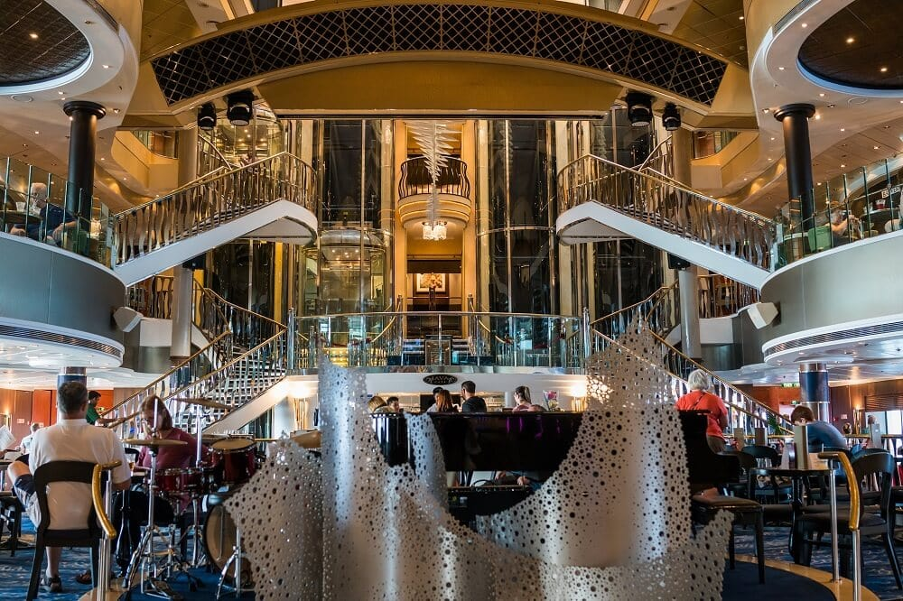 A glimpse inside the atrium of a cruise ship. - pros and cons of cruises - two traveling texans