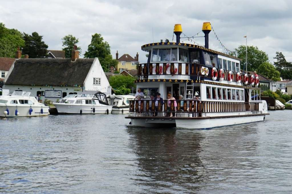 """One of the bigger boats you will find on the Norfolk Broads. - """"Hire a Boat on the Norfolk Broads"""" - Two Traveling Texans"""