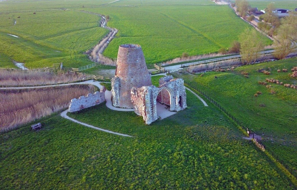"""Drone shot of what is left of St. Benet's Abbey. - """"Hire a Boat on the Norfolk Broads"""" - Two Traveling Texans"""