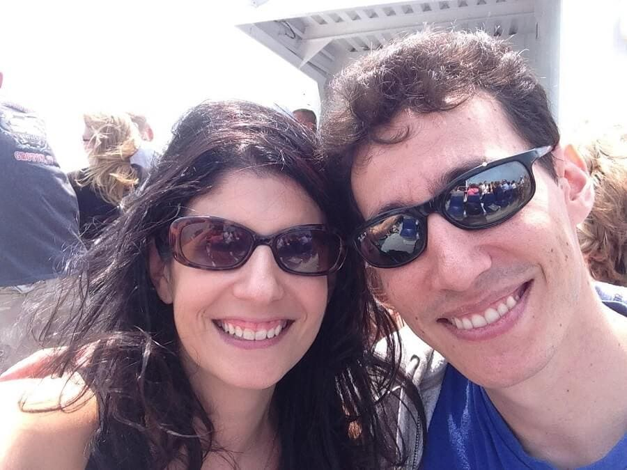 """Anisa and Jonathan on the Block Island Ferry from New London. - """"Block Island Ferry and Travel Guide"""" - Two Traveling Texans"""
