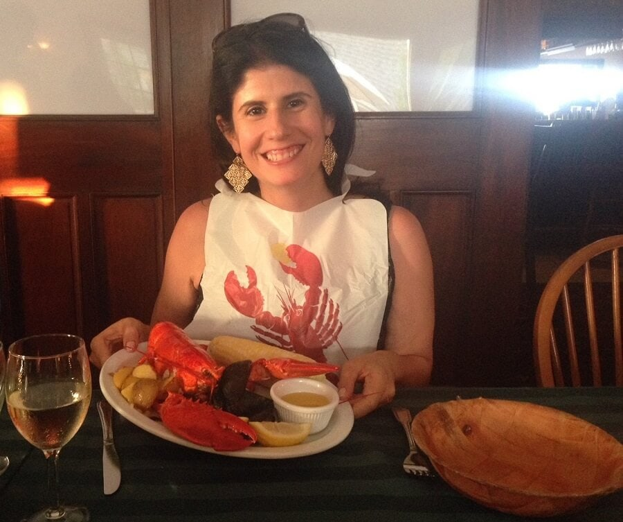 """Anisa loves her lobster! - """"Block Island Ferry and Travel Guide"""" - Two Traveling Texans"""