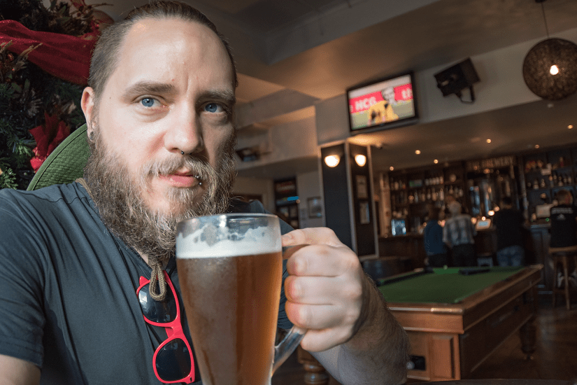"""Torben drinking APA in Aucklands first micro brewery """"Shakesbeer"""""""