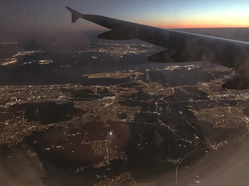 View from the plane down over London