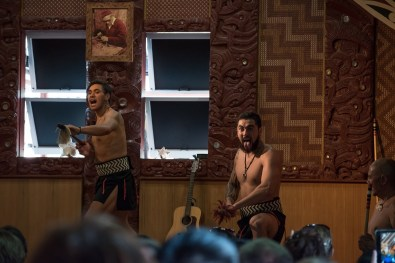 Showing some fighting techniques at the Maori Cultural Show