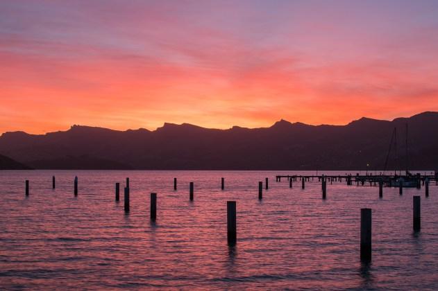 Sunset at Lyttleton Marina