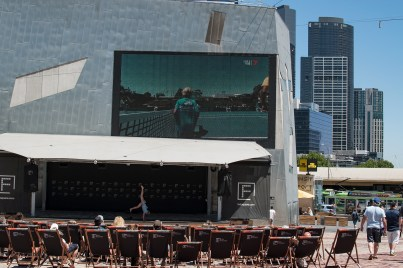 watching Tennis and a spontanous dance presentation on Federation Square