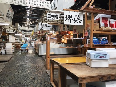 Tsukiji with empty stands where the fish is sold