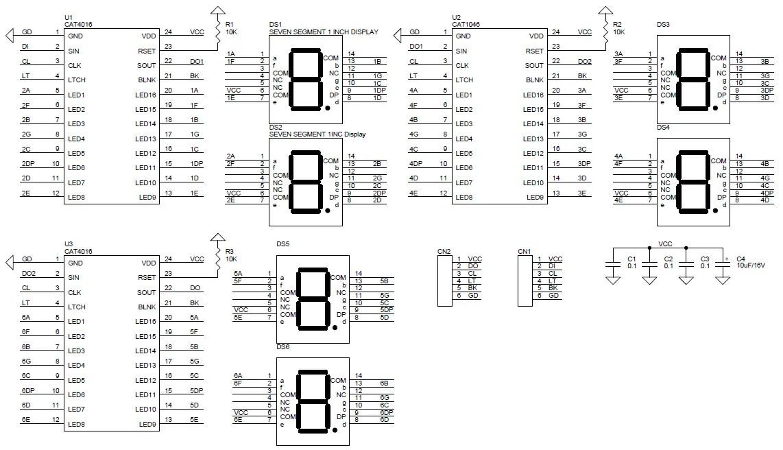 6 Digit 7 Segment 1Inch SPI (Serial) Display Using Cat4016