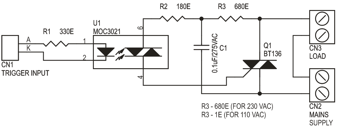 Solid State AC Relay Descreet Circuit Using Traic (3